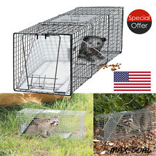 Humane Animal Trap 32x12x12 Steel Cage Live Rodent Control Skunk Rabbit Opossum.