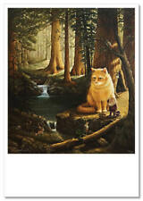 RED CAT in Russian Ethnic Style Fantasy Life Art Unposted Modern Postcard