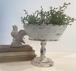 Primitive Farmhouse White Distressed Wooden Footed/Pedestal Bowl