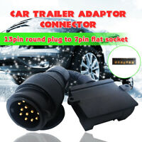 13 Pin Round Male Plug To 7 Pin Flat Female Socke Trailer Adaptor Caravan Car a