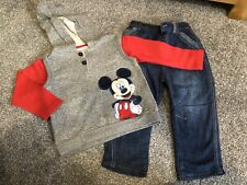 Mickey Mouse Baby Boy 12-18 Months Hoodie & Jeans PRISTINE