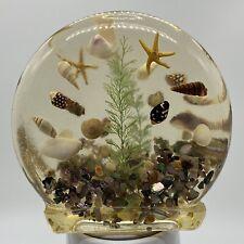 Vintage Resin Lucite Napkin Holder Beach Sand Seashells Starfish Retro