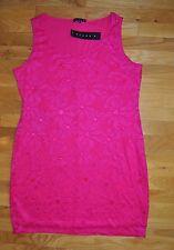 NWT Womens TIANA B. Dark Hot Pink Lace Sleeveless Dress Size M Medium $98