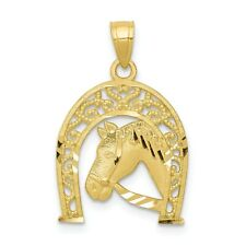 10k Yellow Gold Good Luck Horseshoe w/ Horse Pendant. (0.8INx0.6IN)