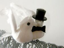 """Dove Couple w/ Veil Top Hat Tux Cake Topper 3"""" Feathered Wings Tree Branch Bird"""