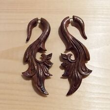 Pair of Statement Fake Gauge Tribal Earrings Carved Wood Gothic Jewelry Bali