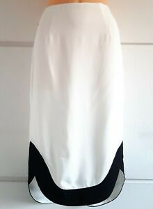 C/Meo Collective £60 Sweet Nothing Hi Low Skirt Size S 8 Ivory Black Pencil