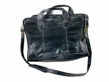 Leather Briefcase Shoulder Strap Black Messenger Laptop Satchel Bag Vintage Men
