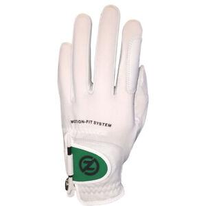 Zero Friction Motion-Fit Golf Glove 6pk (White/Green, Men's Left, ONE SIZE) NEW