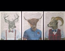 3X Stag Highland Cattle Ram Prints Vintage Dictionary Page Wall Art Pictures Cow