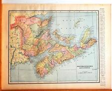 Beautiful Original 1899 New Brunswick & Nova Scotia Large Color Map/10x14