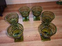 Vintage Indiana Glass Mt. Vernon Stemmed Dessert Sherbets Glasses (6)*Mint*