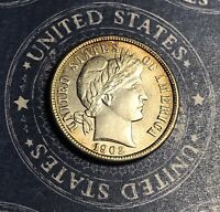 1902 Barber Silver Dime Collector Coin For Your Set Or Collection.