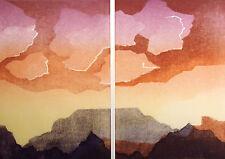 "Katherine Hagstrum ""Lofting"" Hand Signed Art Etching mountain sunset MAKE OFFER"