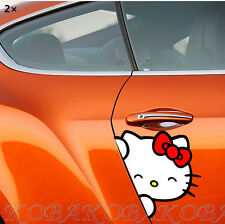 2pcs Car Door Red Bow Reflective Cute Hello kitty Car Decal Sticker New Girls