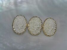 Oval Cabs Light Goldtone Bar Pin Vintage Three Carved White Celluloid Floral