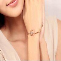 Fashion Women Crystal Flower Bangle Gold Filled Cuff Chain Bracelet Jewelry Nice