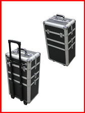 3 in 1 Aluminum Professional Rolling Cosmetic Makeup Train Case Free Shipping
