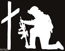 SOLDIER KNEELING AT CROSS Sticker military praying #5