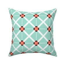 Mint Coral Geometric Retro Tile Throw Pillow Cover w Optional Insert by Roostery