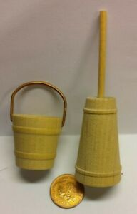 Dolls House Miniatures 1/12th Scale - Large Wooden Bucket and Milk Churn