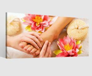 Leinwandbild Wellness Spa Fuß Blumen Leinwand Bild Bilder Wandbild Holz 9AB020