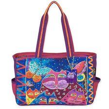 Cats with Butterflies Laurel Burch Medium Canvas Purse Tote Bag Handbag