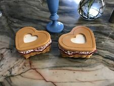 2000 Pair Heart Shaped Longaberger Lined Baskets W/ Lids With Photo Frame