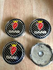 4x Saab Wheel Centre Cap Alloy New Set Of 4 Centre Caps 60mm Black Carbon Fiber