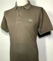 Mens Lacoste Brown Grey Polo Shirt Size L 100% Cotton *Devanlay* 9-745