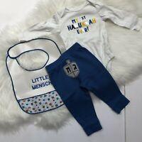 Hanukkah Modern Baby Bandana Bib Set Of 3 Menorah Star Of David Blue Terry New