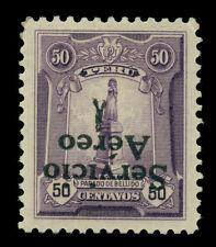 PERU 1927 AIRMAIL Overprinted  50c violet  Sc# C1a mint MLH - INVERTED OVERPRINT