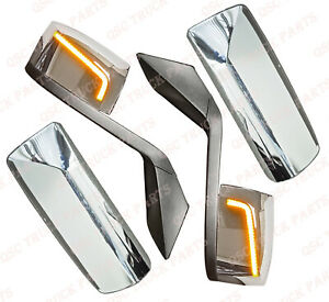 QSC Performance LED Chrome Hood Mirror & Door Mirror Covers Pair for Volvo VNL