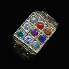 Antique Navaratna Ring 20k Gold Gems Diamond Sapphire Amulet Man Woman (6823)