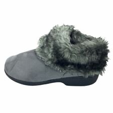 Isotoner Womens Basil Ankle Bootie Slippers Gray Pull On Faux Fur 8.5-9