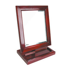 Countertop Adjustable Rotating Rosewood Wooden Frame Glass Mirror With Tray Usa