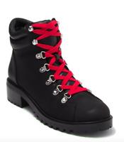 Women's Abound Larkin Combat hiker  Boots Black Red Size 9M Lace up faux suede