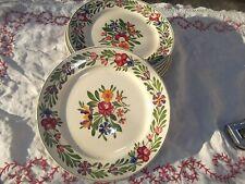 Rare 4 assiettes dessert ancien en faïence de Sarreguemines décor RUSTICANA