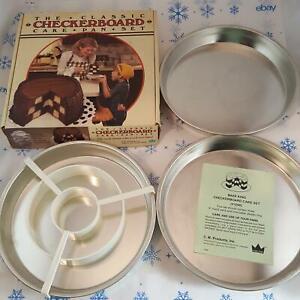 Vintage Bake King Classic Checkerboard Cake Pan 3 Pans Divider Metallic Baking