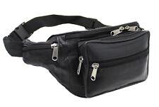 Véritable souple cuir noir qualité sac à taille bum sac de voyage pouch pack #1006