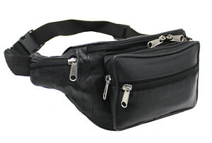 Genuine Soft Black Leather Quality Waist bag Bum Bag Travel pouch pack #1006