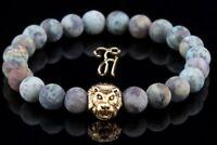 Afrik. Türkis - goldfarbener Löwenkopf - Armband Bracelet Perlenarmband 8mm