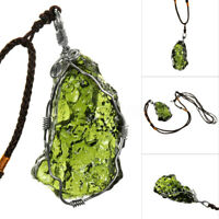 Natural Green Moldavite Aerolites Stone Water Drop Pendant Necklace 6g Weight