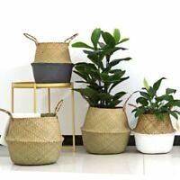 Foldable Seagrass Belly Woven Basket Flowers Plants Pots Storage Bag Home Decor