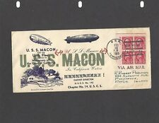 1935 USS MACON DISASTER COVER-USS TENNESSEE NAVAL CANCEL FEB 12-1935
