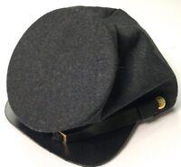 CIVIL WAR CSA CONFEDERATE DARK GREY WOOL FORAGE CAP HAT-XLARGE