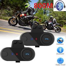 2x Motorrad Gegensprechanlage Sprechanlage 800M Bluetooth HelmIntercom Headset