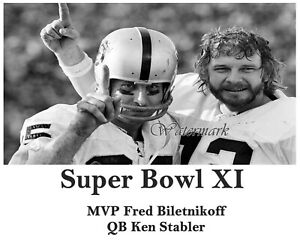 Super Bowl XI Oakland Raiders MVP Fred Biletnikoff & Ken Stabler  8 X 10 Photo