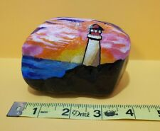 Handpainted Standing Rock Lighthouse Sunset Paperweight