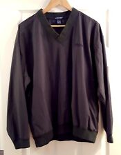 Izod Size M Forest Green Nylon Pullover Jacket Zip Pockets F7